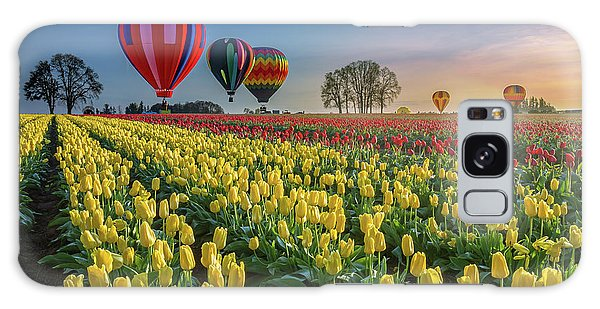 Hot Air Balloons Over Tulip Fields Galaxy Case
