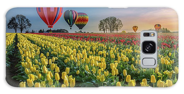 Hot Air Balloons Over Tulip Fields Galaxy Case by William Lee