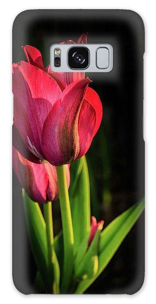 Hot Pink Tulip On Black Galaxy Case