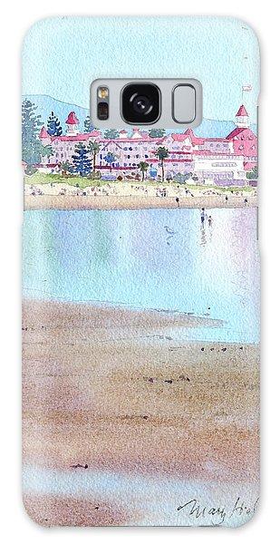 Tides Galaxy Case - Hotel Del Coronado Low Tide by Mary Helmreich