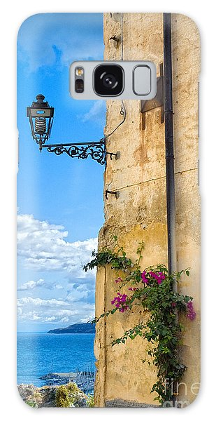 House With Bougainvillea Street Lamp And Distant Sea Galaxy Case