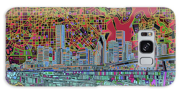 Houston Skyline Abstract 3 Galaxy Case