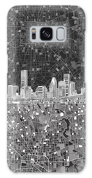 Houston Skyline Map Black And White Galaxy Case