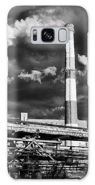 Huge Industrial Chimney And Smoke In Black And White Galaxy Case by John Williams