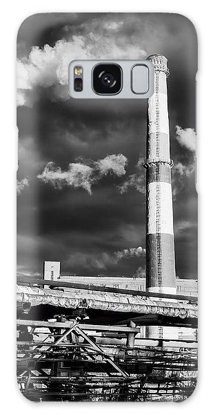 Huge Industrial Chimney And Smoke In Black And White Galaxy Case