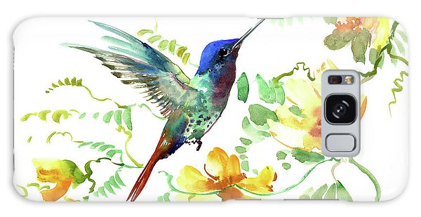 Hummibgbird And Yellow Flowers Galaxy Case