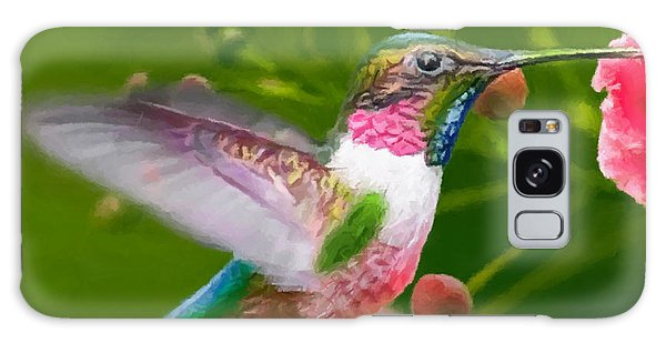Hummingbird And Flower Painting Galaxy Case