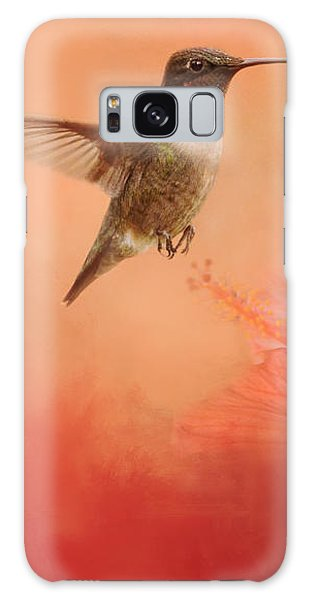 Hummingbird And Peach Hibiscus Galaxy Case