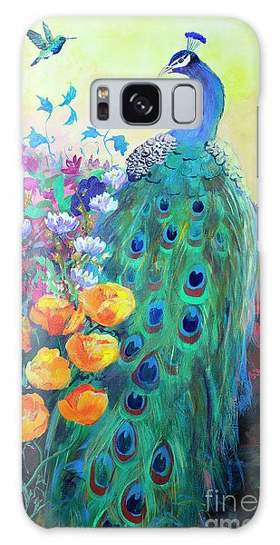 Galaxy Case featuring the painting Hummingbird And Peacock by Robin Maria Pedrero