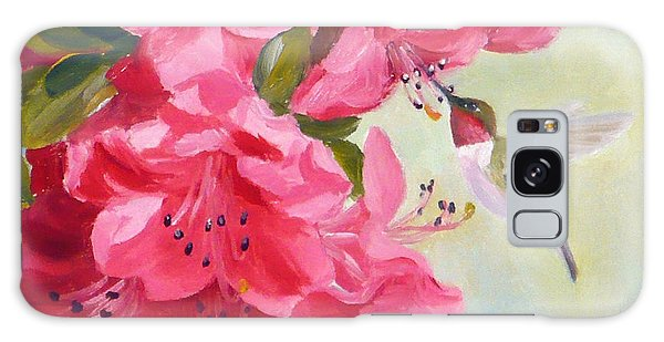 Hummingbird And Pink Azaleas Galaxy Case
