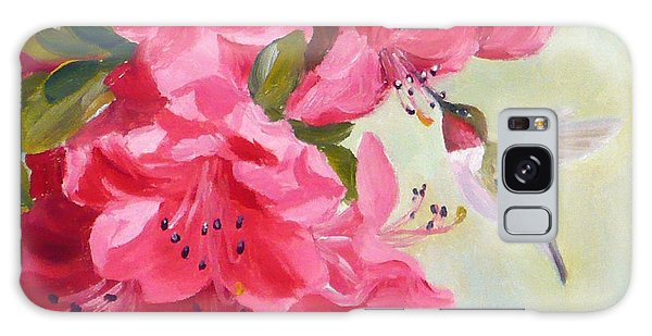 Hummingbird And Pink Azaleas Galaxy Case