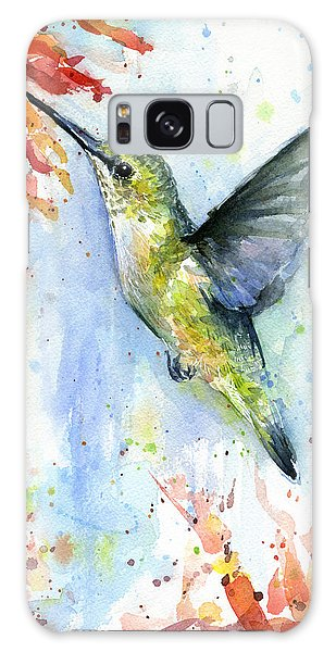 Hummingbird Galaxy S8 Case - Hummingbird And Red Flower Watercolor by Olga Shvartsur
