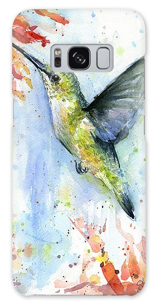 Hummingbird And Red Flower Watercolor Galaxy S8 Case