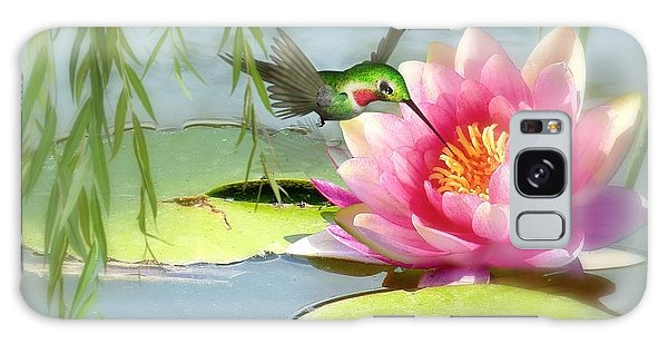 Hummingbird And Water Lily Galaxy Case