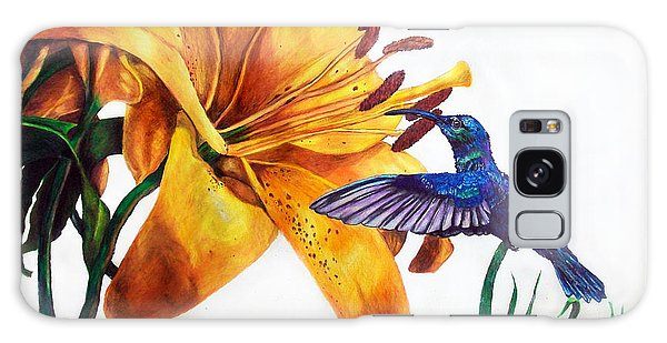 Hummingbird And Yellow Flower Galaxy Case