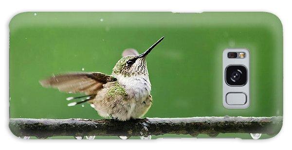 Hummingbird In The Rain Galaxy Case