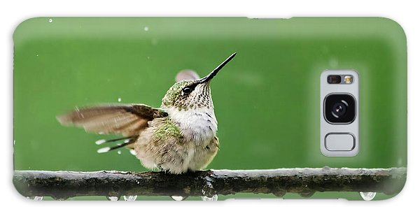 Hummingbird In The Rain Galaxy Case
