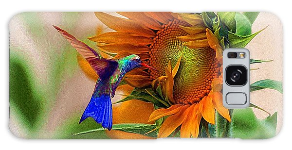 Hummingbird On Sunflower Galaxy Case by John  Kolenberg