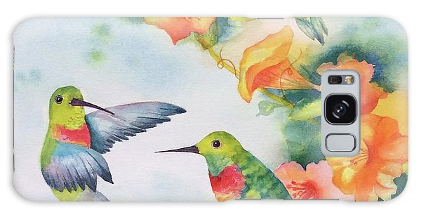 Hummingbirds With Orange Flowers Galaxy Case