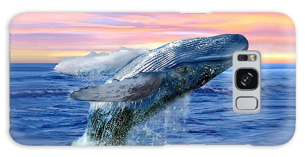 Humpback Whale Breaching At Sunset Galaxy Case