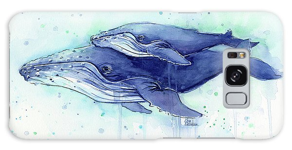 Humpback Whale Mom And Baby Watercolor Galaxy Case