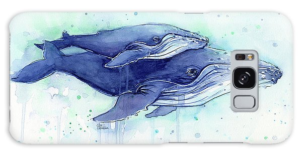 Humpback Whales Mom And Baby Watercolor Painting - Facing Right Galaxy Case