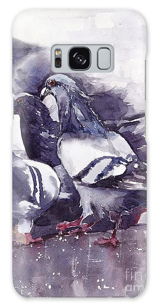 Sparrow Galaxy S8 Case - Hungry Pigeons Watercolor by Suzann's Art