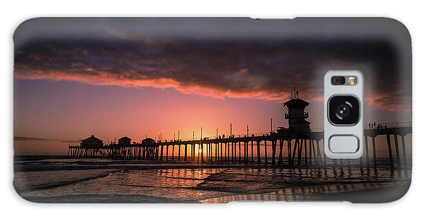 Huntington Pier At Sunset Galaxy Case