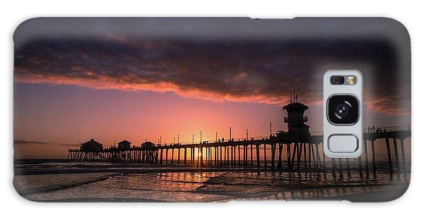 Huntington Pier At Sunset Galaxy Case