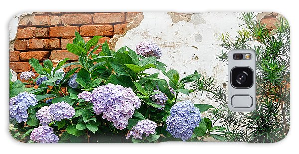 Hydrangea And Bricks Galaxy Case