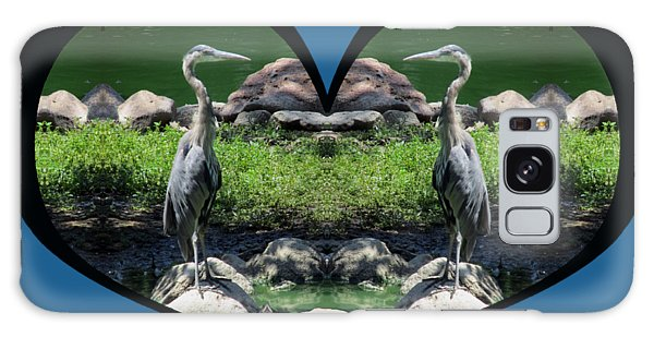 I Chose Love With A Heart Framing Blue Herons Galaxy Case