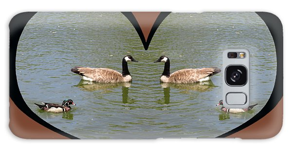 I Choose Love With A Spoonbill Duck And Geese On A Pond In A Heart Galaxy Case