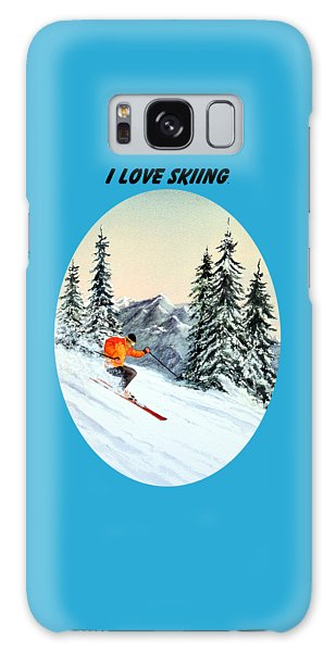 I Love Skiing  Galaxy Case by Bill Holkham