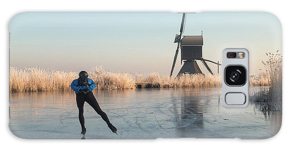 Ice Skating Past Frosted Reeds And A Windmill Galaxy Case