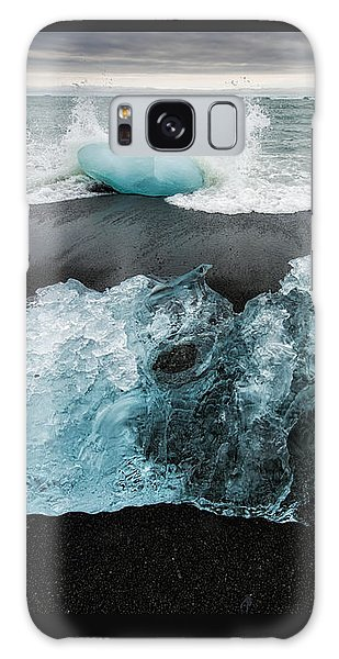 Galaxy Case featuring the photograph Iceberg And Black Beach In Iceland by Matthias Hauser