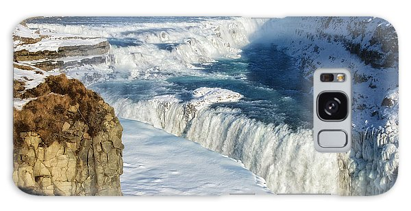 Iceland Gullfoss Waterfall In Winter With Snow Galaxy Case by Matthias Hauser