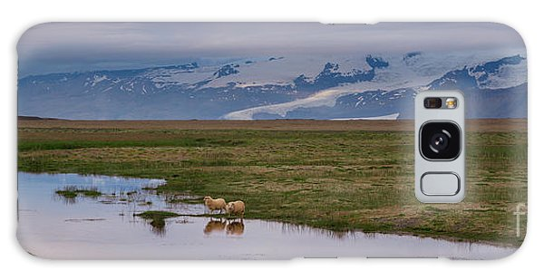 Iceland Sheep Reflections Panorama  Galaxy Case