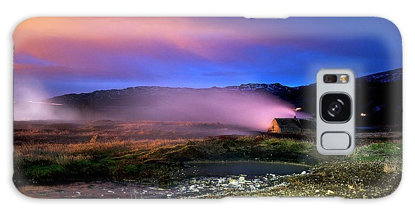 Galaxy Case featuring the photograph Icelandic Geyser At Night by Dubi Roman