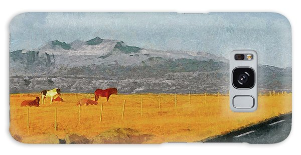 Galaxy Case featuring the digital art Icelandic Horses On The Snaefellsnes Peninsula by Digital Photographic Arts