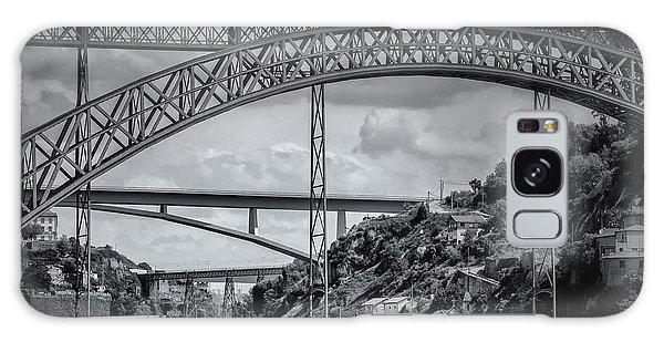 Iconic Bridges Of Porto In Black And White  Galaxy Case