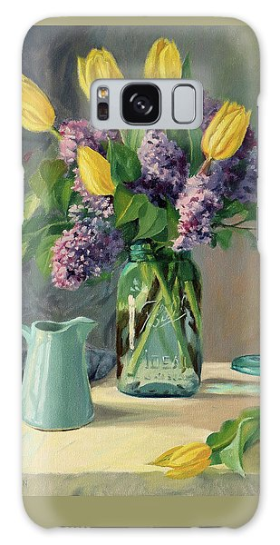 Ideal - Yellow Tulips And Lilacs In A Blue Mason Jar Galaxy Case