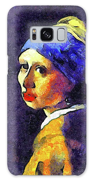 Girl With A Pearl Earring Galaxy Case - If Van Gogh Had Painted Vermeer by Georgiana Romanovna