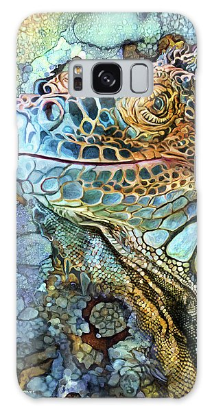 Galaxy Case featuring the mixed media Iguana - Spirit Of Contentment by Carol Cavalaris