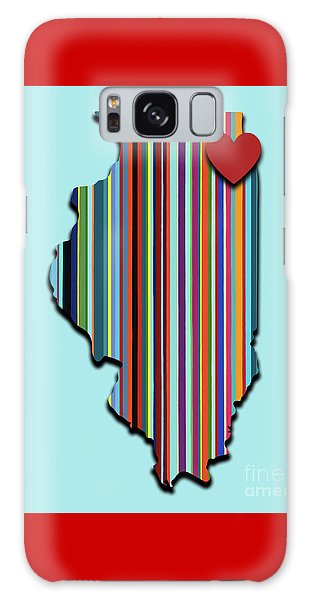 Galaxy Case featuring the mixed media Illinois With Love Geometric Map by Carla Bank