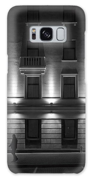 Illuminated Building With People Galaxy Case