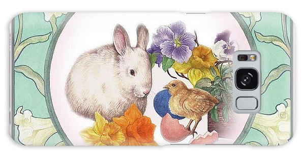Illustrated Bunny With Easter Floral Galaxy Case by Judith Cheng