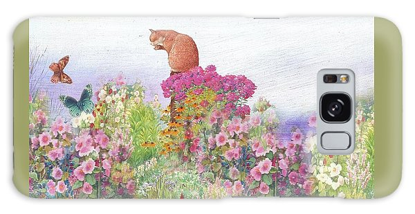Illustrated Cat In Garden Galaxy Case