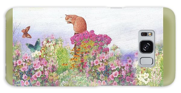 Illustrated Cat In Garden Galaxy Case