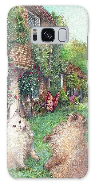 Illustrated Cats In English Cottage Garden Galaxy Case
