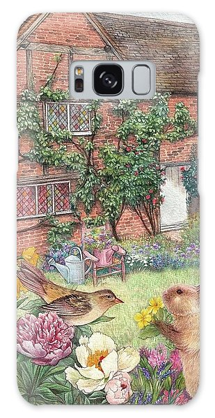 Illustrated English Cottage With Bunny And Bird Galaxy Case